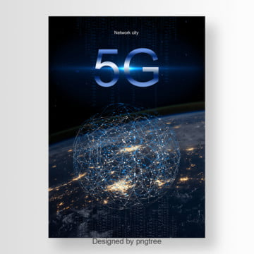 Black Dream 5G Network Communication Poster Template