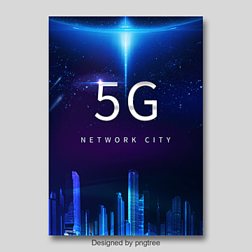 Blue Fashion 5G Communication Network Poster Template