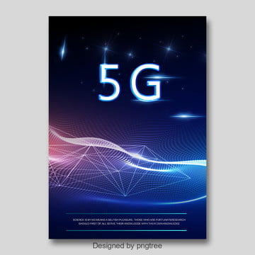 blue fashion abstract 5g communication network poster Template