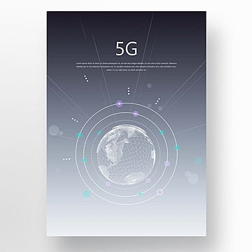 blue fashion abstract 5g network poster Template