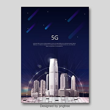 blue fashion modern 5g communication poster Template