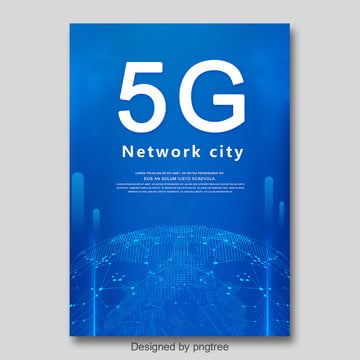 blue fashion simple 5g network communication poster Template