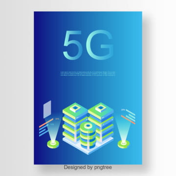 blue modern stereo 5g communication poster Template