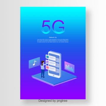 blue purple 5g network communication poster Template