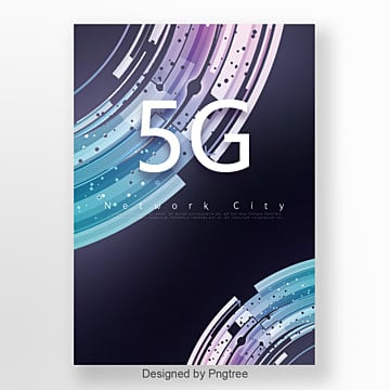 Dark Blue Fashion 5G Communication Network Poster Template