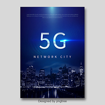 Dark Blue Fashion Modern 5G Network Communication Poster Template
