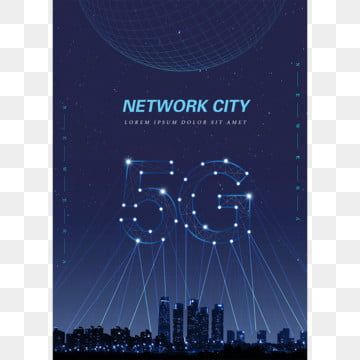 the dark blue  the whole communication network 5g fashion poster Template