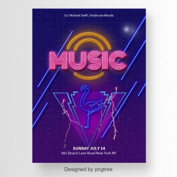 fashion music party poster with a flamingo Template