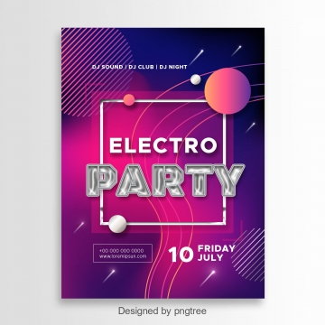 Inviting poster to the club for an electronic music party Template