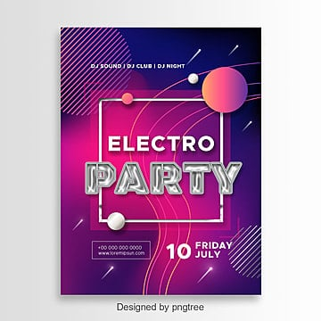 Inviting poster to the club for an electronic music party, Poster, Invitation, Background PNG and PSD