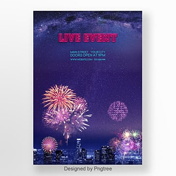 the blue color the fireworks festival poster Template