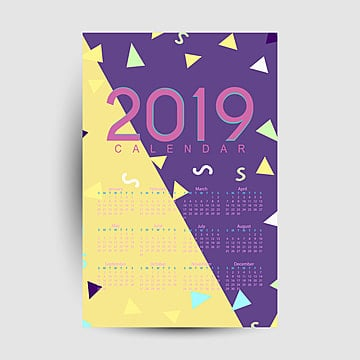 calender 2019 template, 2019, Calendar, New PNG and Vector