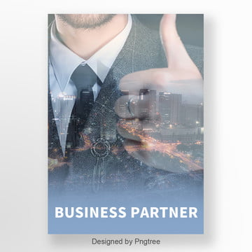 Business Simplicity City Character Double Exposure Advertising Poster Template