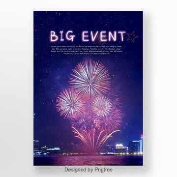 simple posters for the celebration of purple fireworks and new years fireworks Template