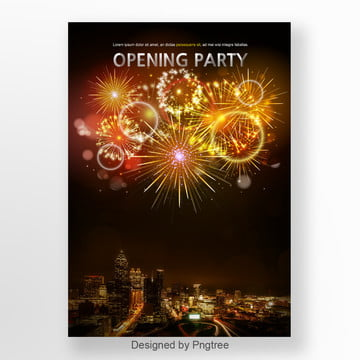 Poster Design for Opening Party of Fireworks Element, Fireworks, Opening Party, Celebration PNG and PSD