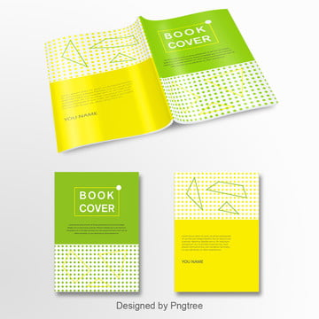 vigorous yellow green geometric graphics simple wind book cover Template