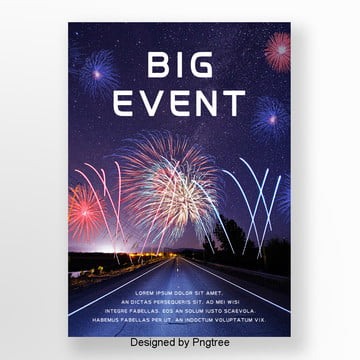Blue Nightscape City Fireworks Background Poster, Poster, Large, Match PNG and PSD