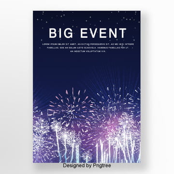 white fireworks city nightscape theme background poster Template