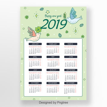 2019 Illustration Style Green Simple Fresh Calendar Template