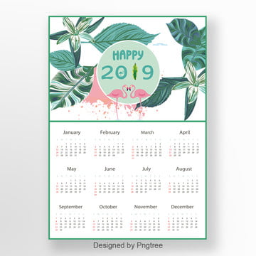 2019 Illustration Style Green Simple New Year Calendar Template