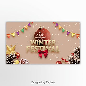 fresh fashion simple winter festival christmas website banner Template