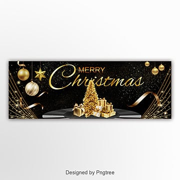 golden luxury high end christmas happy website banner Template