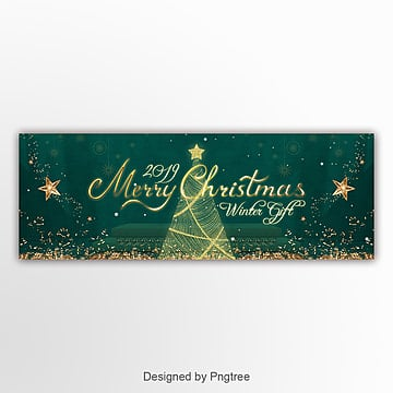 luxury golden christmas happy festival website banner Template