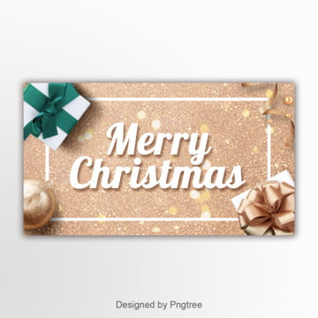 golden powder gift box simple banner Template