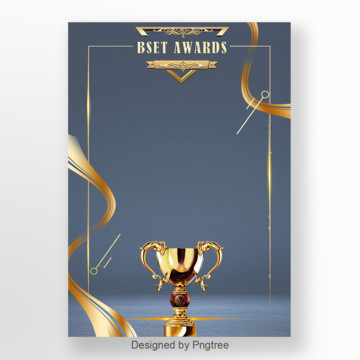 Gray Blue Gold Cup Ribbon Award Poster Template Template illustration image