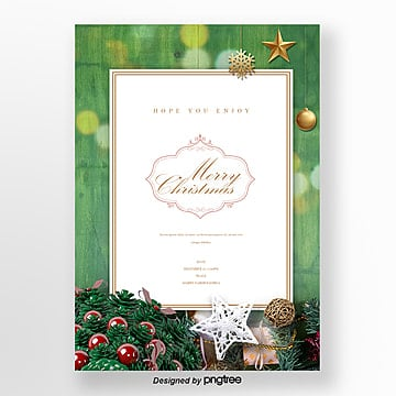 christmas green the invitation letter about wood Template