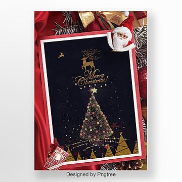 red luxury and fashion christmas invitations Template