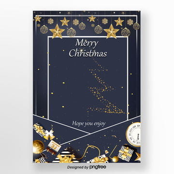 blue star english christmas invitation card template Template