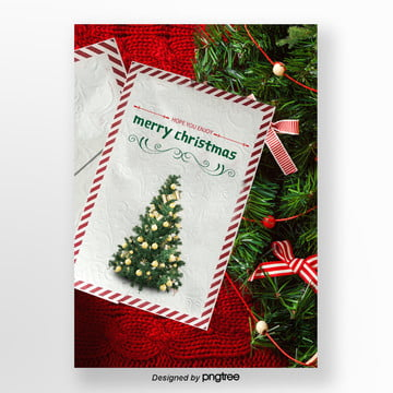 red christmas tree i wish you a merry christmas and happy envelope Template