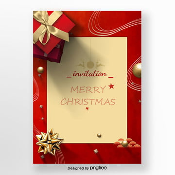 red gift box christmas invitations vector Template