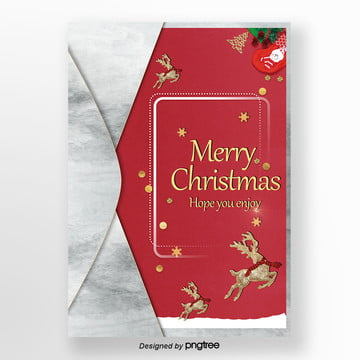 red christmas christmas invitation poster Template