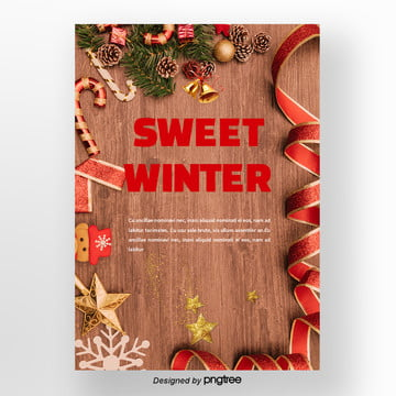 black red star christmas cake of winter sweets poster Template