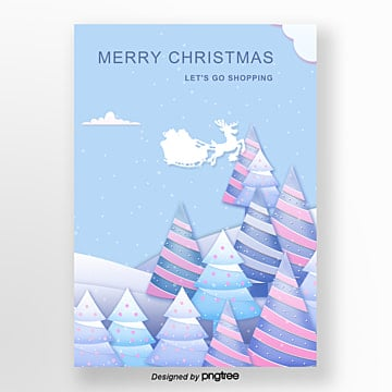 the paper take the blue fresh cut christmas poster, Cloud, Forest, The Reindeer PNG and PSD