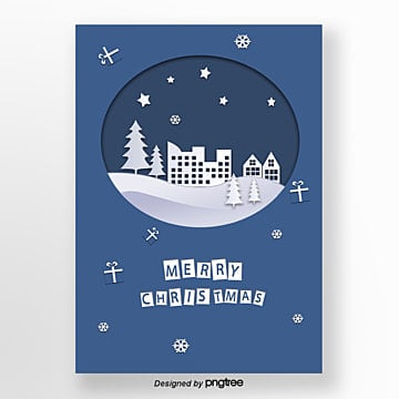 blue cardboard christmas paper cut poster, Gift Box, Cap, Christmas Elements PNG and PSD
