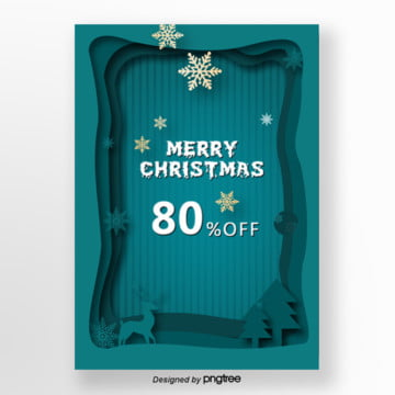 blue christmas holiday discount promotional poster, Tree, Snow, The Deer PNG and PSD