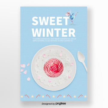 christmas santa claus in a clear blue color] winter sweets poster Template