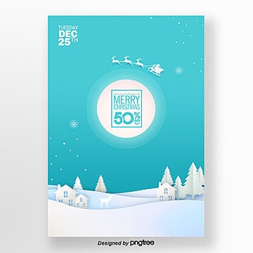 blue simple creative poster for christmas paper cut in 2019 Template