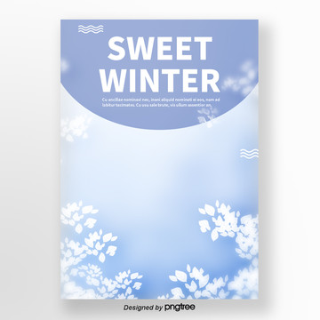 blue snowflakes for coffee milk tea winter sweets poster Template