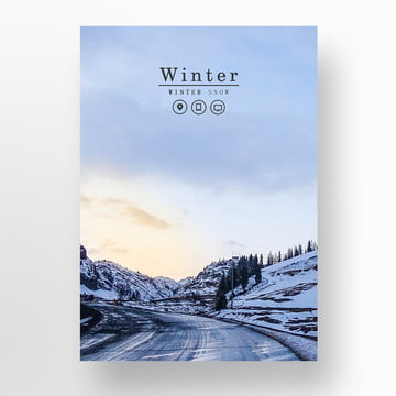 blue winter snow view about the poster Template