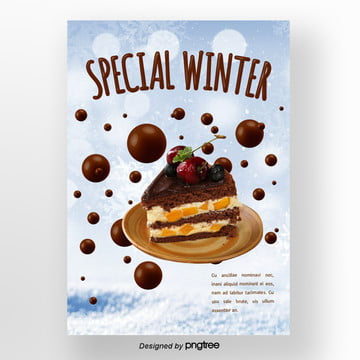 chocolate  with brown snow winter sweets poster Template