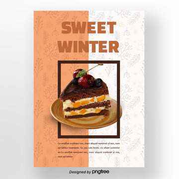 brown christmas chocolate cake winter sweets poster Template