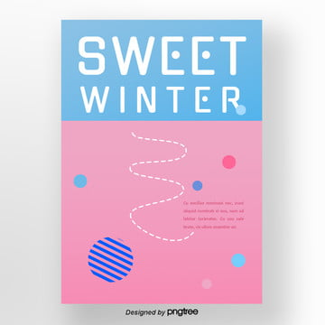 coloured ice cream geometric round winter dessert poster Template