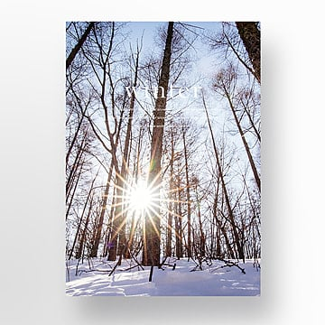 the winter snow view window fashion poster Template