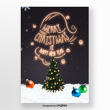 fashion simple christmas neon light art print poster Template