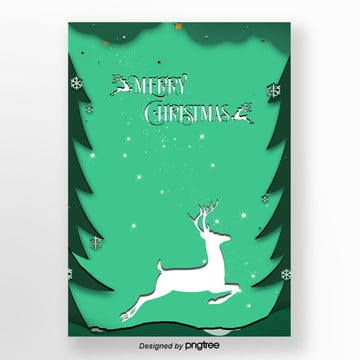 green christmas elk paper-cut poster template, Flaky Clouds, Christmas, Atmosphere PNG and PSD