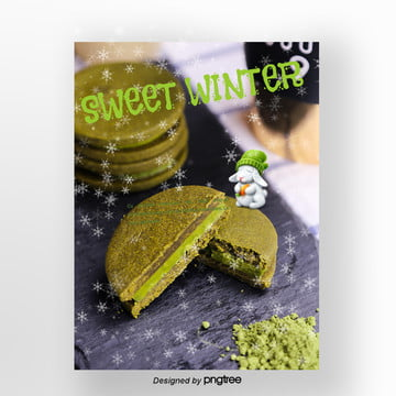 green tea cake  fresh rabbit christmas snow that winter sweets poster Template